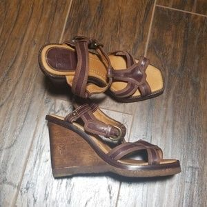 Frye wooden wedge sandals size 6